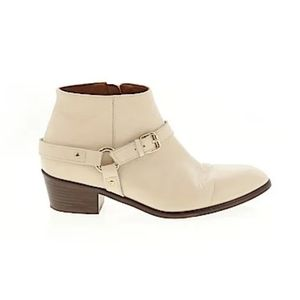J. Crew Ivory Cream Studded Belt Ankle Boots